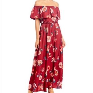 Sugarlip floral ruffle off the shoulder maxi dress